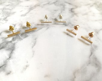 Gold Bar Studs, Silver Bar Studs, Rose Gold Bar Studs, Minimal Bar Earrings, Tiny Bar Studs, Minimal Bar Studs, Bar Earrings, Bar Studs, Bar