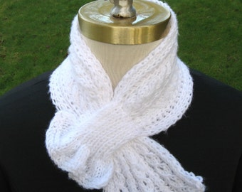 Sparkly White Scarflette with Lacy Cabled Frill hand knit soft warm feminine pass through scarf keyhole scarf