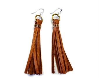 Leather Earrings, Tassle Earrings, Brown Leather Tassle, Leather Tassel Earrings, Tassel Earrings, Leather Fringe Earrings, Western Jewelry