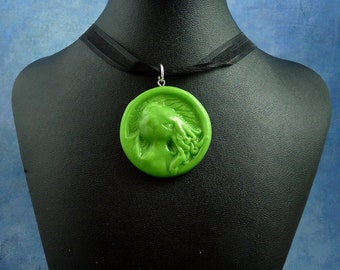 Bright Green Cthulhu Cameo Necklace, Polymer Clay Lovecraft Jewelry