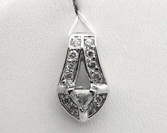 Trillion Cut Diamond Drop Pendant - Pave Diamonds Charm - White Gold 14K