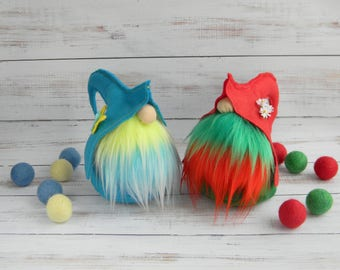 Nordic gnome Swedish tomte Spring decor Easter Decoration Tomte Nisse Felt toy Elf Scandinavian Gnomes Elves Wizards Friends Gifts Blue Red
