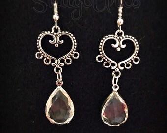 Clear heart earrings