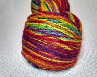 KAUNI Wool Yarn, 2ply, Fingering, Self-Striping Rainbow EQ