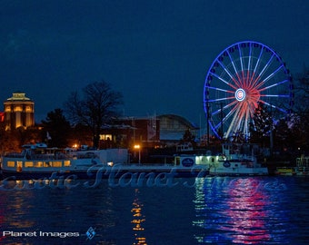 Navy Pier, Chicago at Night from the Chicago River