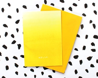 Yellow Ombre - Hello - Greetings Card