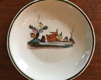 Vintage Mexican 1930's Tlaquepaque Cream Plate / Ceramic Plate with Rabbit / Mexican Art Ceramic Plate / Mexican Folk Art