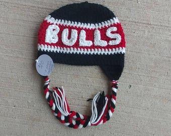 ALREADY MADE -- 1-2 years -- Chicago Bulls Handmade Crochet Hat! Winter Basketball Hat!