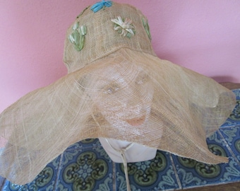 Huge Sheer Straw Raffia Flower Straw Floppy Wide Brim Hat Philippines Hukilau Pool Sun Beach