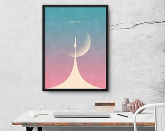 Vostok Rocket And Moon Minimal Poster Art Print