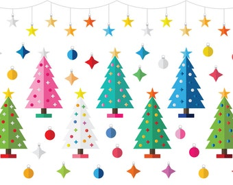 50% OFF Colorful Christmas Party Clip Art | Tree Modern Geometric Ornaments Garland | Digital Illustration Stock Icons | Commercial Use