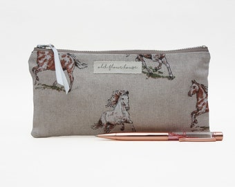 Horse Pencil Case, Small Makeup Bag, Pencil Pouch, Pony Cosmetics Bag, Purse Organizer, Mini Make Up Bag, Zipper Pouch, Old Flour House