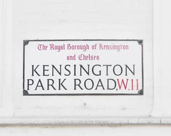 London Sign Art Decor // Black and White Prints // Gallery Wall Sign // Kensington // Home Decor // White