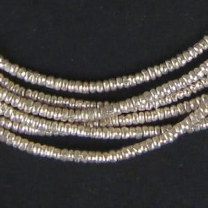 450 Ethiopian Silver Heishi Beads 2mm - African Silver Beads - Metal Heishi - Made in Ethiopia * (MET-HSHI-SLV-254)
