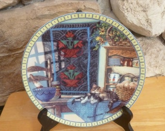 Cats Lazy Morning plate Cozy Country Corners Edwin Knowles 1990