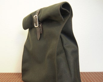 Waxed Cotton Roll Down Lunch Sack