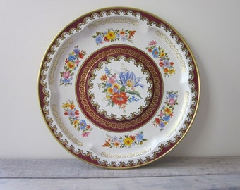 Large Round Vintage Metal Tin Tray with Floral Pattern