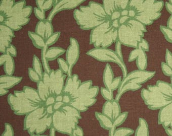 Green Floral on Brown, Simple Pleasures, Fabric Traditions