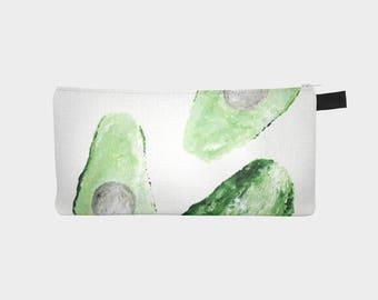 Avocado Pencil Pouch, avocado pouch, avocado bag, makeup bag, pencil pouch