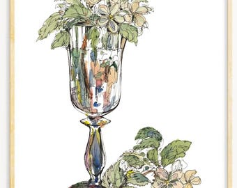 glass with flowers - JPG files - Instant Download after purchase - Vintage picture clipart digital graphic for decor - print etc 300dpi