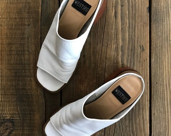 "VINTAGE• Westies ""Ravish"" White Leather Mules• Chunky angled heel• 100% leather"