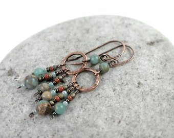Aqua Terra Jasper Dangle Earrings, African Blue Opal, Copper Hoop Earrings, Sterling Silver, Gemstone Earrings, Boho Earrings, Gift for Her