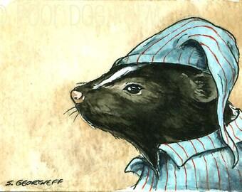 A Skunk in PJs - Original ACEO Painting