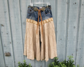 Tea Stained Embroidered Shabby Chic Palazzo Pants// Large// emmevielle