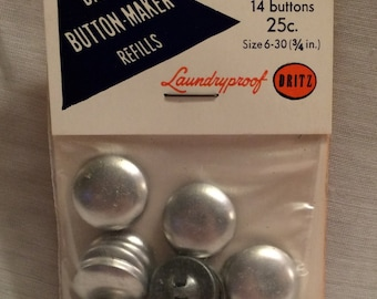 Vintage Dritz Button Maker Refills #631 & 731 6-30 (3/4 in) 14 Per Pack