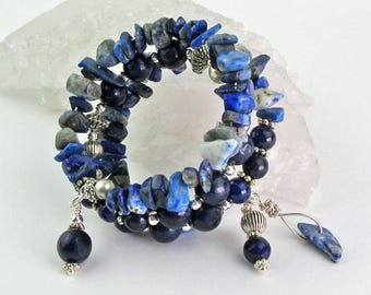 Lapis Lazuli/Small Size/Memory Wire Bracelet/Semi Precious Stones/Silver Toned Beads/Brilliant Blues/Wire Wrapped Charms/Multi Strand/Gift
