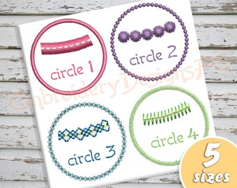 Circle Applique Design - 5 sizes - Machine Embroidery Design File