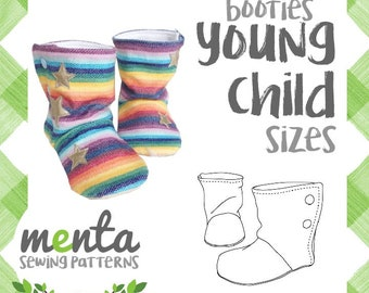 Young Child Menta Booties Slippers Boots PDF Sewing Pattern and Tutorial