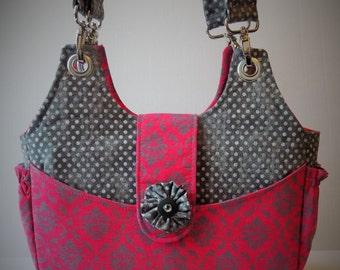 Bella Bag in Hot Pink and Grey Damask