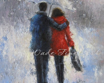 Rain Lovers ORIGINAL Painting, lovers in rain, loving couple walking in rain, man woman, anniversary gift, umbrella, red,  Vickie Wade Art