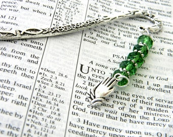 Prayer Bookmark with Green Glass Beads Silver Color Shepherd Hook Christian Bookmark