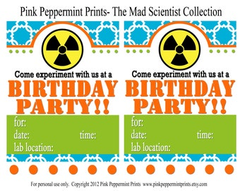 NEW INSTANT DOWNLOAD  Printable Party Collection- The Scientist Birthday Party Full Collection