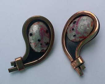 Vintage Signed Matisse Renoir Copper clip on earrings