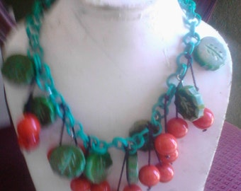 Artisan Bakelite & resin cherry necklace