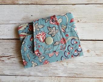 Card wallet | card holder | travel wallet | loyalty card keeper | minimalist wallet | credit card case | blue flowers