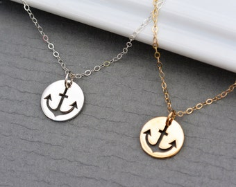 Cut out Anchor Charm Necklace // SILVER or GOLD Anchor Jewelry //  Navy Necklace //  Nautical Jewelry // Anchor Necklace // Bridesmaid Gift