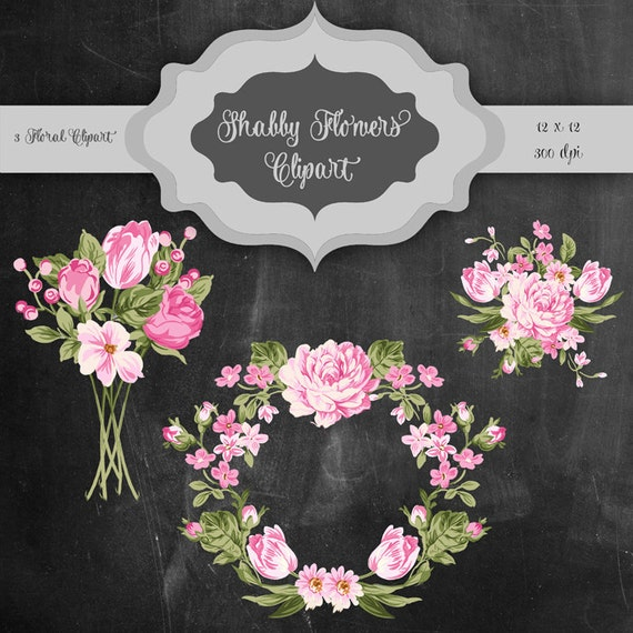 Shabby Flowers Digital Clip Art Vintage Flower Bouquet