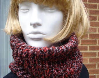 Neck Warmer Cowl Collar Hand Knitted In Chunky Reds And Black Yarn