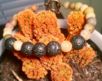 essential oil diffuser bracelet with lava rock and amazonite beads