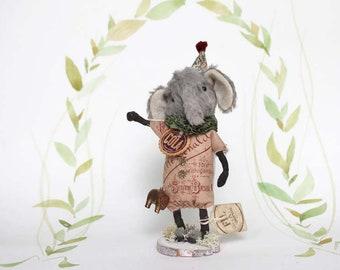 Nostalgische Primitive Folk Art Figur Elefant Zirkus  Miniatur Weihnachten