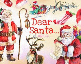 Santa clipart. Christmas clipart. Watercolor Christmas. Christmas clip art. Reindeer clipart. Holiday clipart. Santa Claus