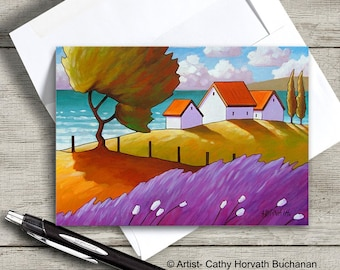Lavender Windy Trees Seaside Cottage 5x7, Ocean Coastal Greeting Card, 5x7 Art Card Suitable for Framing, by Artist Cathy Horvath Buchanan