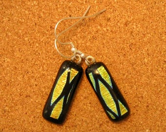 Dichroic Glass Earrings - Dichroic Jewelry - Fused Glass Earrings - Fused Glass Jewelry - Geometric Earrings