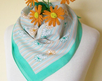 Vintage Square Scarf Spring Green Border Floral Stripes Retro Japan 1970s