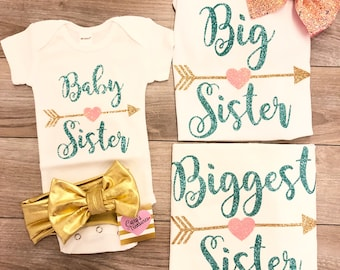 Little Big Biggest Sister sparkle shirts onesie outfit
