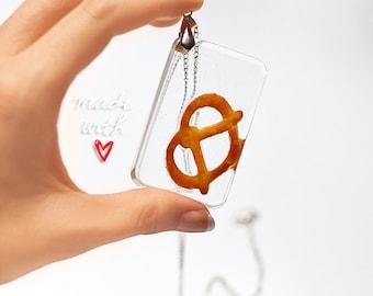 Pretzel Necklace, Oktoberfest Pretzel Charm, Resin Necklace, Epoxy Necklace, Resin Pendant, Pretzel Jewelry, Geeky Nerdy Gift Food Jewellery